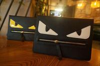 Zipper Little Monster face flip leather case for ipad mini 4 book case Hot Sale
