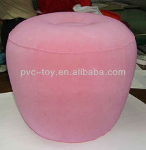 high quality flocked pvc inflatable pink apple shape seat cushion