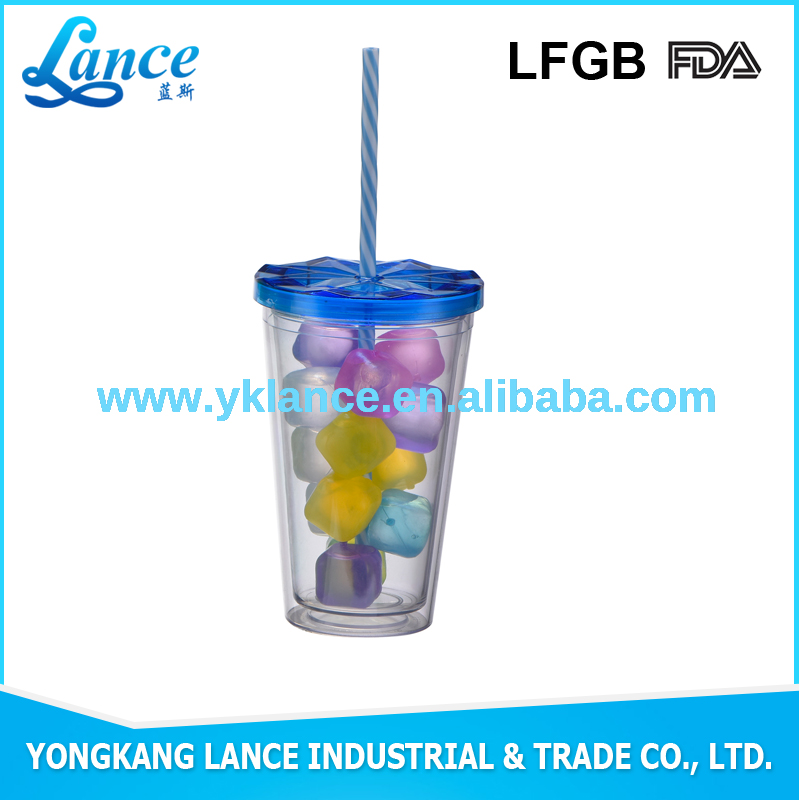 2016 Eco-friendly Custom Drinking Plastic double wall plastic tumbler with ice cube