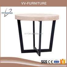 cross metal frame new design wooden round teapoy coffee table
