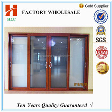 6mm tempered glass wooden grain aluminium security screen sliding door