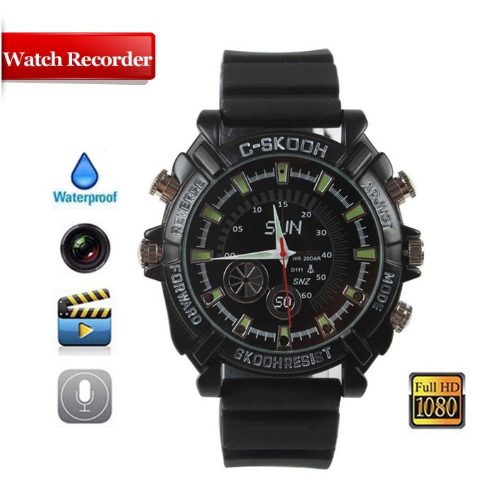 HD 1920x1080 Night Vision Recording Waterproof Watch 1080P Camera -<strong>W1000</strong>
