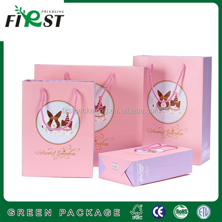 customize fancy Paper Bag with handle cosmetic shopping bag