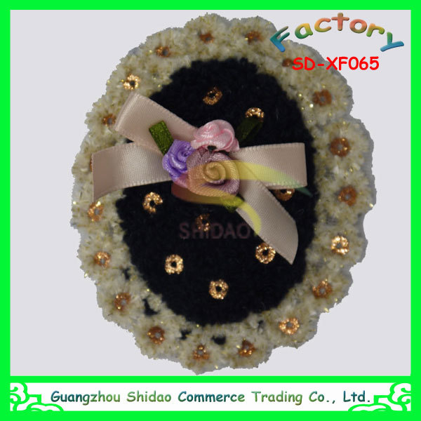 Fancy wool with sequin lace flowers embroidery designs decoration flower