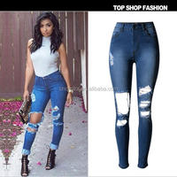 Z54060B wholesale price ladies jeans top design woman tops and jeans photos ripped denim jean pants