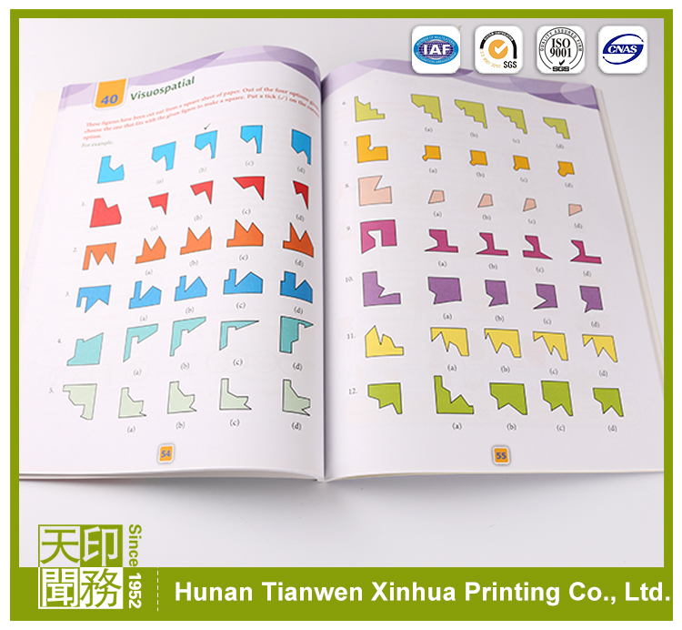 Custom high quality colorful softcover paperback saddle stitching exercise books