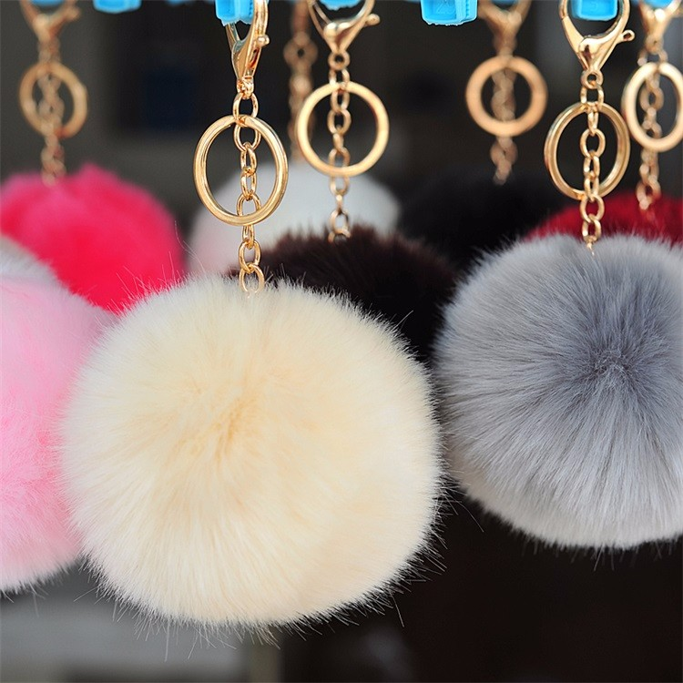 2016 news fancy cute cheap faux fox fur pom pom ball key chain / Small pom pom key chain / Animal pom pon