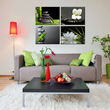Lotus Flower Group Canvas Painting/Bamboo and Pebble Canvas Prints/Zen Picture Canvas Drawing 4 Pcs