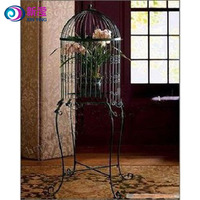 Metal Handmade round birdcage with stand dome top antique big bird cages