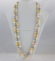New gold mixed color 11mm AA baroque 63 inch genuine natural freshwater pearl jewelry necklace