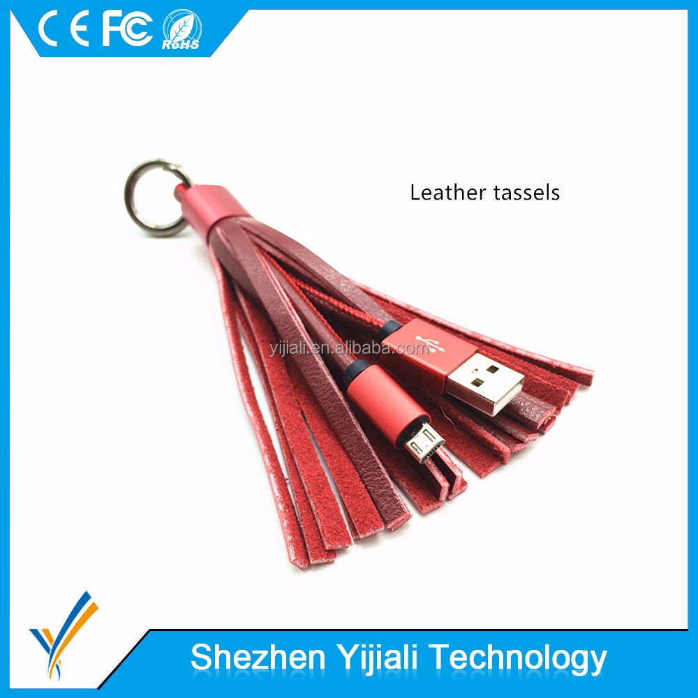 Custom colour genuine leather tassel short micro usb Keychain charging data cable for gift