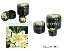 Handmade lacquered box, 'Frangipani' (set of 3)