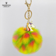 Hot wholesale Pompom Fox Fur Car Custom Keychain with Unicorn Charms