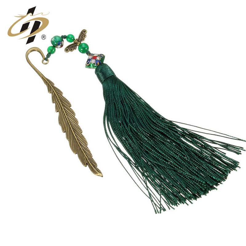 Vintage custom Wholesale cheap Long leaves brass bookmark with metal chain and With tassel