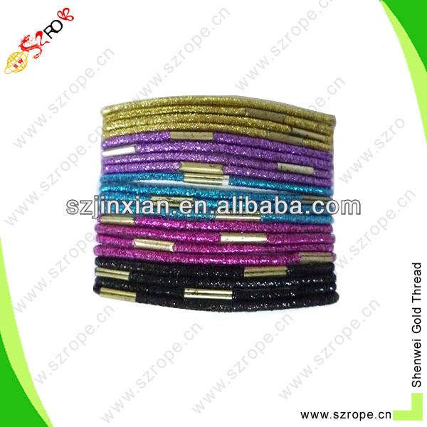 4mm colored glitter elastic hair tie,wholesale elastic hair ties