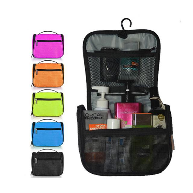Fashion multifunction folding black blue travel makeup bag organizer,custom travel toiletry cosmetic bag hanging