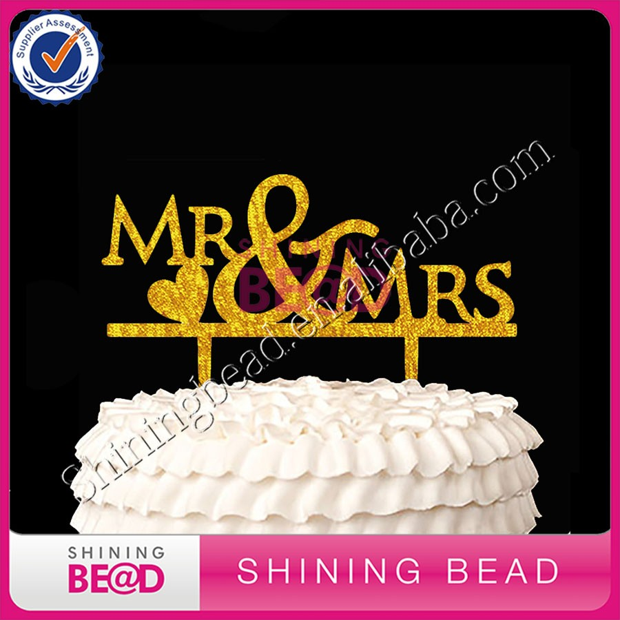 Alibaba gold wedding Mr&Mrs bride groom acrylic cake topper gold cake topper