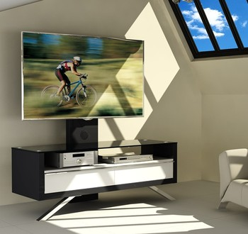 Stylish Melamine Faced Wood and Glass TV Stand