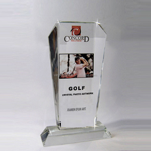 Wholesale New design cheap crystal glass golf trophy awards, crystal trophy design for Business gifts