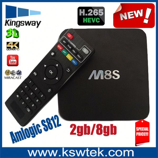 Kodi 15.2 Amlogic S812 High Speed USB Host Mali-450 GPU H.265 Video Decoding Wifi Android4.4 TV Box