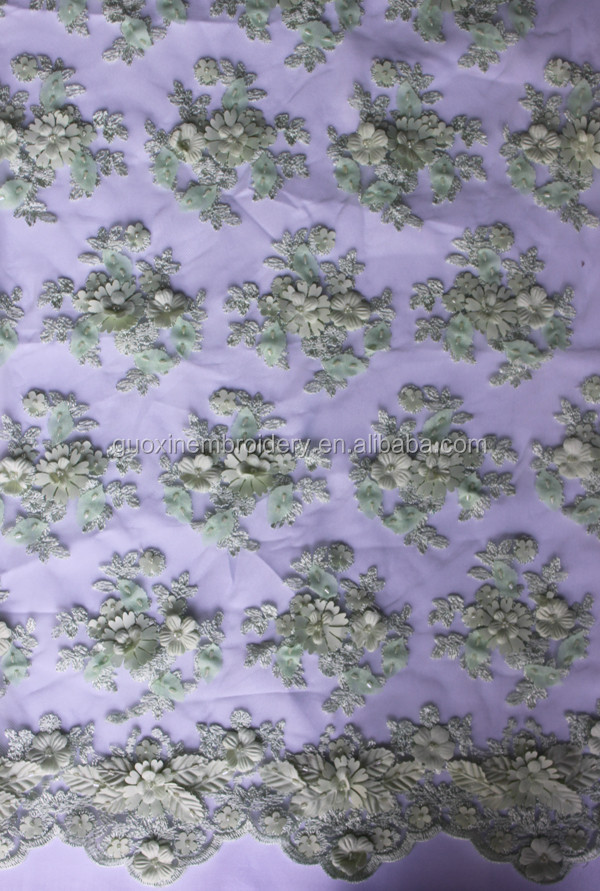 3D Embroideried Floral Lace Wedding Lace Fabric Bridal Lace Tulle 52''