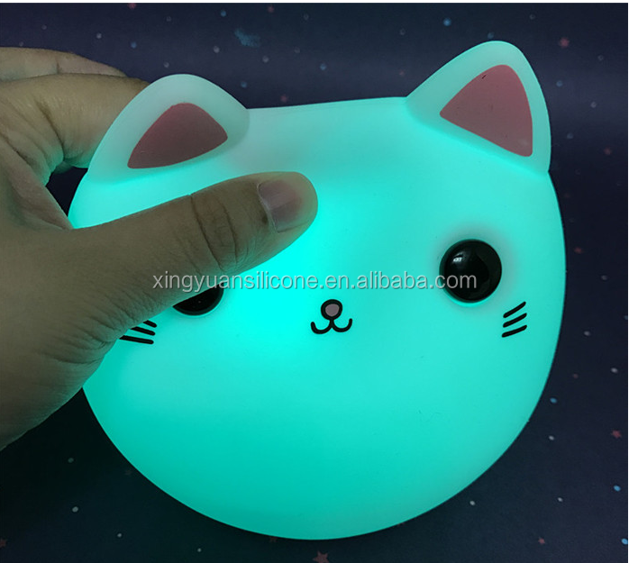 Good for Sleeping silicone Night Light cat shape Lamp 3D Laser Engraved Lights 5 Colors Changing LED Dawn Of Justice Kids Gift