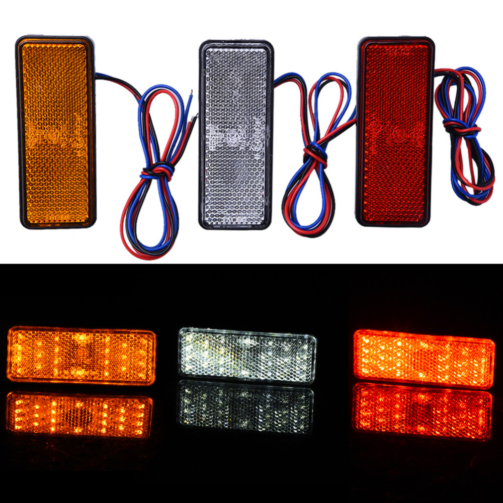 2017 12V Universal LED Reflector White Red Yellow Rear Tail Brake Stop Marker Light For Truck Trailer Motorcycle Car