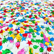 Star/cake/balloon shape plastic table confetti for birthday decoration,table scatter for party decoration