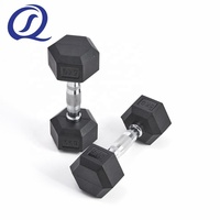 Gym Exercises Weight Lifting Black Color Cast Iron Fixed Rubber Coated Hex Dumbbell