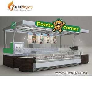 Shopping Mall Food Kiosk Potato/Cafe Kiosk With Glass Display Cabinet For Sale
