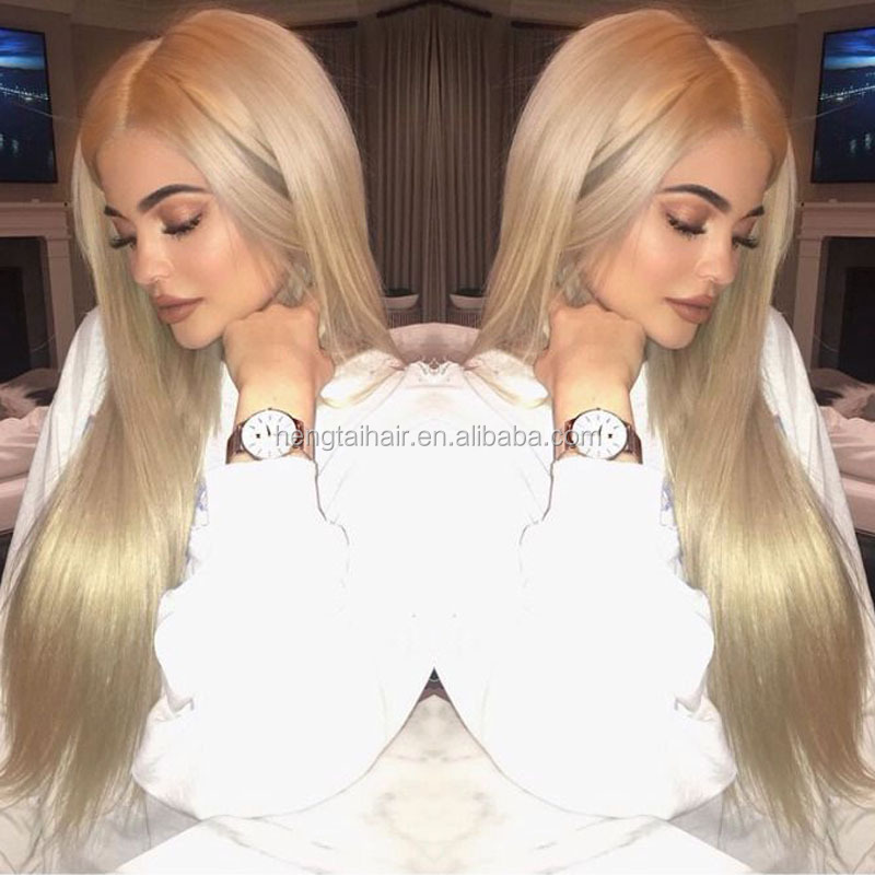Kylie Jenner High Quality Ombre Silky Straight Wigs for Woman Synthetic Lace Front Wig Heat Resistant