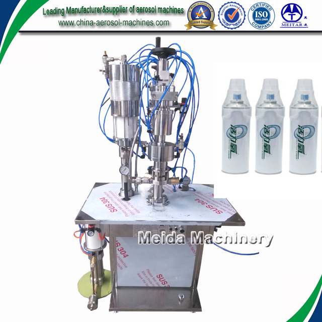 Semiautomatic aerosol oxygen filling machine/aerosol under cap filler