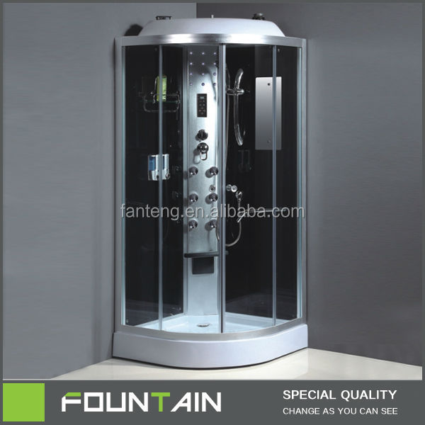 Corner Bath with Frame Exterior Glass Folding Doors Bathroom Shower Cabin