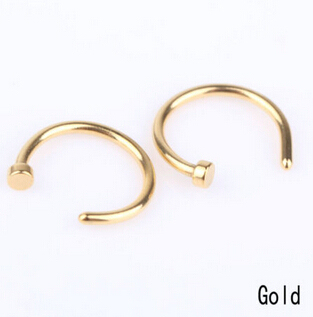 2 Pcs Medical Nostril Titanium Gold Silver Nose Hoop Nose Rings clip on nose ring Body Fake Piercing Piercing Jewelry For Women