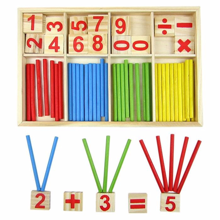kids Toy Counting Sticks Education Wooden Toys Building Intelligence Blocks Montessori Mathematical Wooden Box Chil Gift