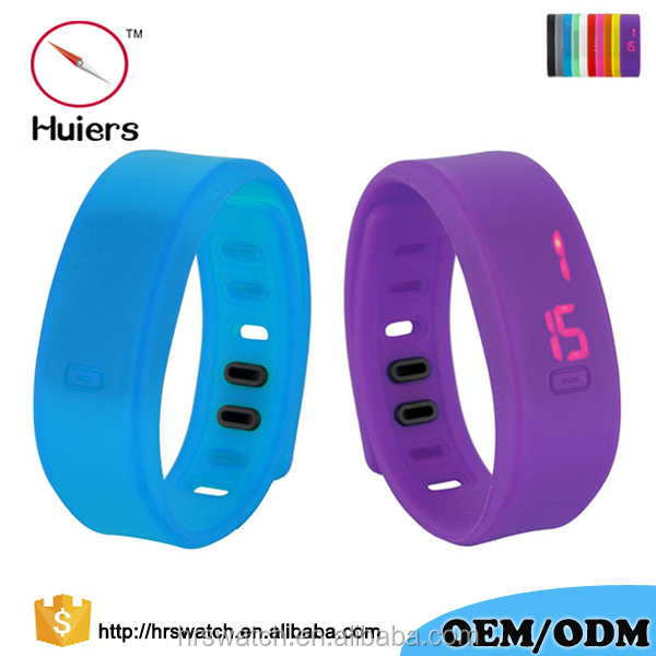 Fashion red light rectangle face Silicone wristband digital led watch