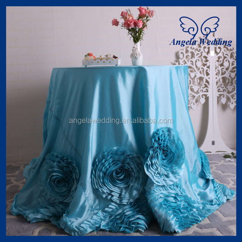 CL052E Fancy elegant round ruffled flower fancy wedding turquoise blue taffeta tablecloths for cake table