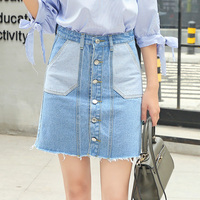 2017 New Style Fashion Women Breasted Denim Skirt Light Blue Jeans Skirt For Sale