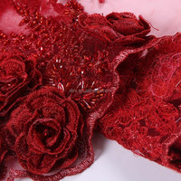 Dini handmade rose embroidery polyester blanket fabric, embroidered tulle fabric, satin embroidered fabric