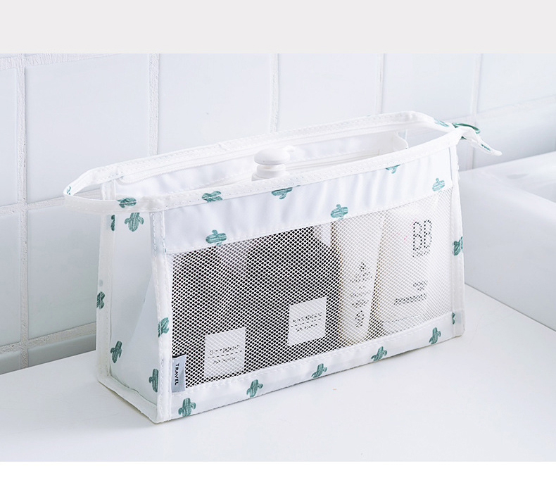 Cheap Wholesale Mesh Net Zipper Cosmetic Makeup Bag