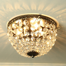 hand Weave Crystal decoration metal round lampshade led e14 chandelier ceiling lamp
