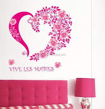 New Design Stickers Flowers Love Heart Wall Papers House Decorations Removable Wall Stickers Romantic