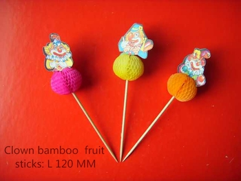 Clown bamboo/wooden fruit sticks