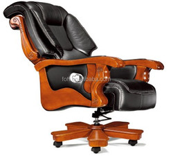 wood frame with leather upholstery recline office Chair (FOH-A11)