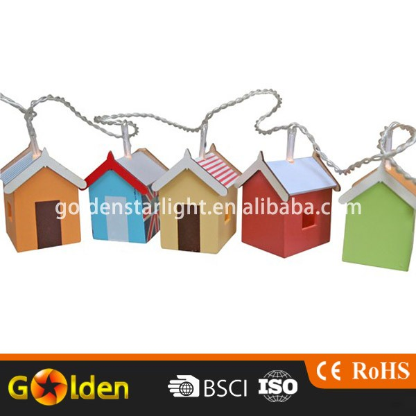 Christmas Mini Hut 10 pcs String Decorative Garden Solar Led Light