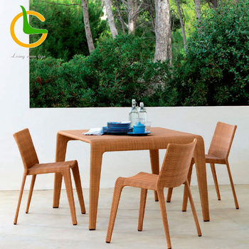 Hand woven wicker square outdoor dining table set for 4