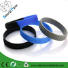 Bulk cheap embossed silicone wristband, two color silicone rubber bracelet