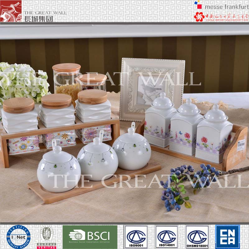 2014 hot selling porcelain tea sugar coffee canister