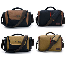 Top quality vintage heavy duty canvas camera messenger bag with rain cover
