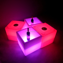 Plastic Ice Buckets For Party Square Ice Bucket Illuminated Led Cube Ice Bucket